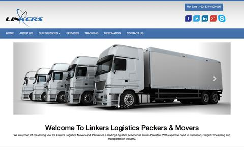 Screenshot of Home Page linkerslogistics.com - Linkers Logistics Packers & Movers Lahore, Pakistan - captured Jan. 30, 2016