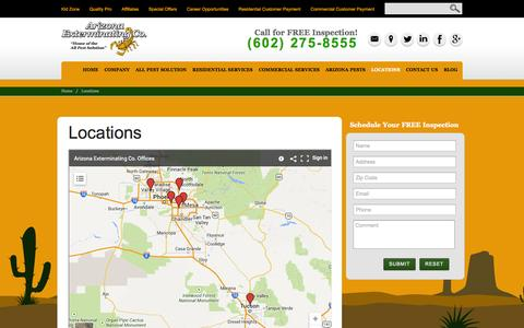 Screenshot of Locations Page azext.com - Pest Control Locations in Arizona | Phoenix, Tucson, Scottsdale, Mesa, Peoria - captured Oct. 4, 2014
