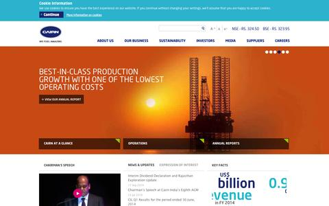 Screenshot of Home Page cairnindia.com - Oil and Gas Exploration Companies – Oil and Gas Production Company In India | Cairn India Limited | - captured Sept. 22, 2014