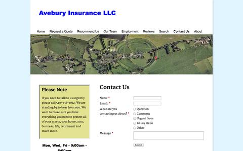 Screenshot of Contact Page aveburyinsurance.com - Contact Avebury Insurance - captured Oct. 4, 2014