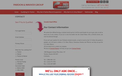 Screenshot of Contact Page pardonsforcriminals.ca - Contact | Pardons For Criminals - U.S. Entry Waiver - captured Oct. 5, 2014
