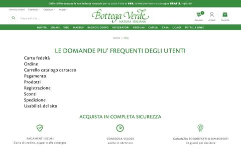 Screenshot of FAQ Page bottegaverde.it - Bottega Verde domande frequenti  | Bottega Verde - captured June 2, 2017