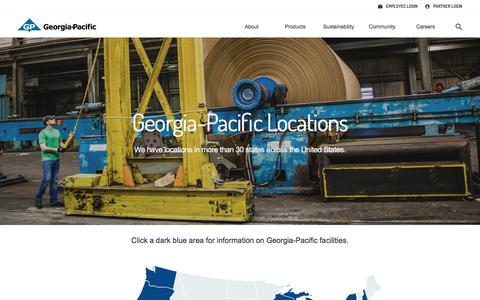 Screenshot of Locations Page gp.com - Georgia-Pacific Locations - captured Feb. 22, 2018