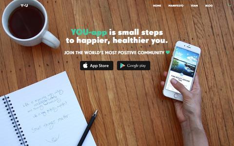 Screenshot of Home Page you-app.com - YOU-app - Small steps to happier, healthier you - captured Nov. 3, 2015