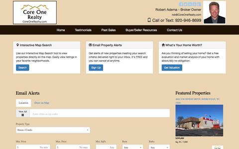 Screenshot of Signup Page coreonerealty.com - Sheboygan Homes for Sale - Sheboygan, WI Real Estate - captured Nov. 11, 2016