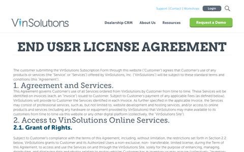 Screenshot of Terms Page vinsolutions.com - VinSolutions - Privacy Terms - EULA - Dealer Form & Agreement - captured Sept. 20, 2018