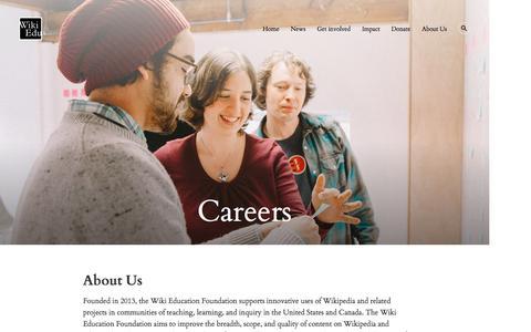 Screenshot of Jobs Page wikiedu.org - Careers – Wiki Education Foundation - captured Feb. 28, 2016