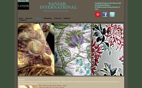 Screenshot of Products Page sanjarintl.in - Products - captured Oct. 3, 2014