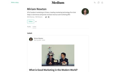 Latest stories written by Miriam Newton – Medium