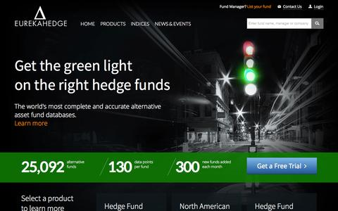 Screenshot of Home Page eurekahedge.com - Eurekahedge - The definitive source for hedge fund news, analysis and information - captured July 24, 2015