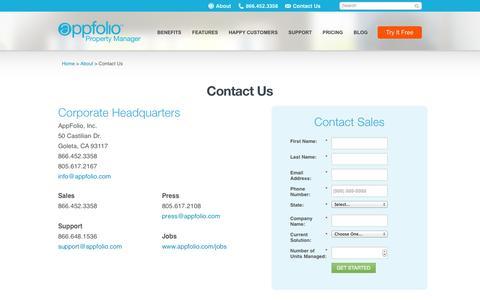 Screenshot of Contact Page appfolio.com - Online Property Management Software by AppFolio - Contact   AppFolio.com - captured Oct. 28, 2014