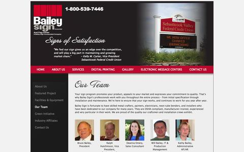 Screenshot of Team Page baileysign.com - Bailey Sign Our Team - captured Oct. 5, 2014