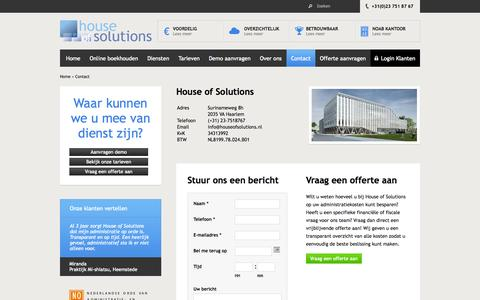 Screenshot of Contact Page houseofsolutions.nl - Contact - House of Solutions - captured Oct. 3, 2014