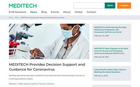 Screenshot of Support Page meditech.com - MEDITECH Provides Decision Support and Guidance for Coronavirus  | MEDITECH - captured Feb. 20, 2020