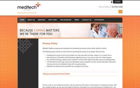 Screenshot of Privacy Page meditechstaffing.com.au - Privacy Policy - Nursing Agency Sydney - captured Aug. 10, 2016