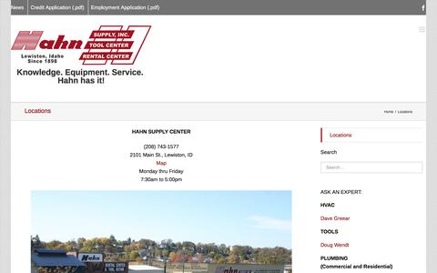 Screenshot of Locations Page hahnsupply.com - Hahn Supply Center   –  Locations - captured Jan. 24, 2016