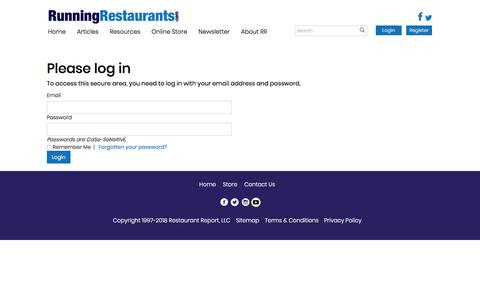 Screenshot of Login Page runningrestaurants.com - Restaurant Management for Restaurant Owners, Chefs, Managers & Staff - captured Feb. 26, 2018