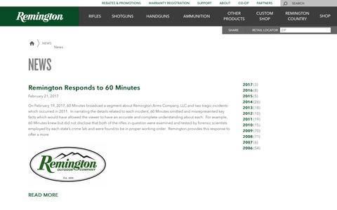 Screenshot of Press Page remington.com - News | Remington - captured Oct. 21, 2017