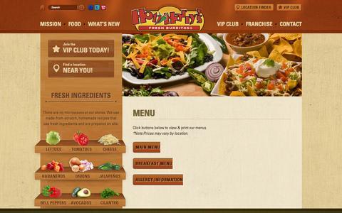 Screenshot of Menu Page hotharrys.com - Menu   Hot Harry's - captured Oct. 3, 2014