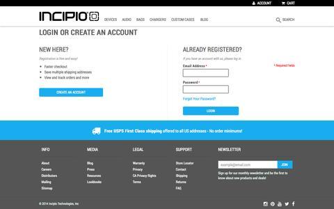 Screenshot of Login Page incipio.com - Customer Login   Incipio - captured Sept. 19, 2014