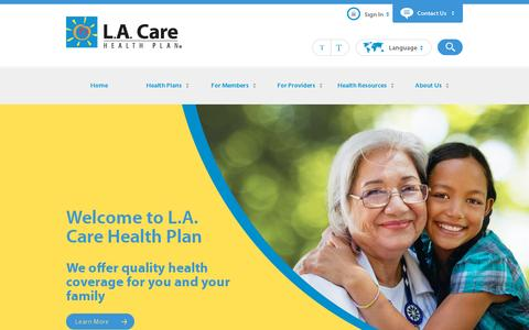 Screenshot of Home Page About Page lacare.org - Home | L.A. Care Family Health Plan - captured July 12, 2014