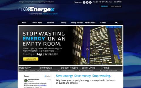 Screenshot of Home Page energexinc.com - Energy Management System by Energex | For Hotels, Offices, and More - captured Sept. 30, 2014