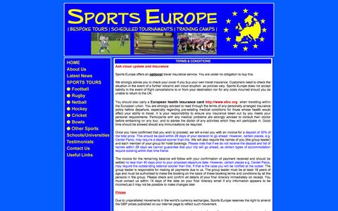 Screenshot of Terms Page sports-europe.co.uk - Sports Europe - Terms & Conditions - captured Sept. 30, 2014