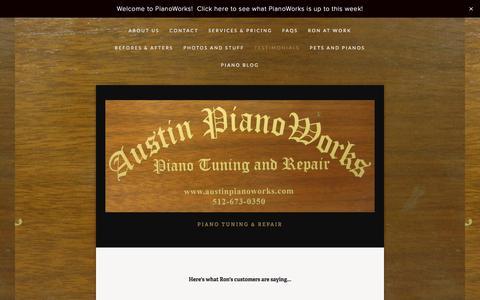 Screenshot of Testimonials Page austinpianoworks.com - Testimonials — PianoWorks - captured Aug. 1, 2017