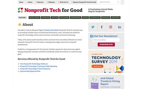 Screenshot of About Page nptechforgood.com - ⭐ About - captured April 23, 2019