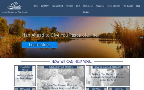 Screenshot of Home Page lakesidefuneralhome.com - Funeral & Cremation Services in Hamburg and West Seneca - captured Sept. 27, 2018