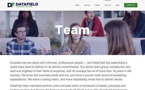 Screenshot of Team Page datafieldusa.com - Team | DataField - captured Oct. 8, 2017
