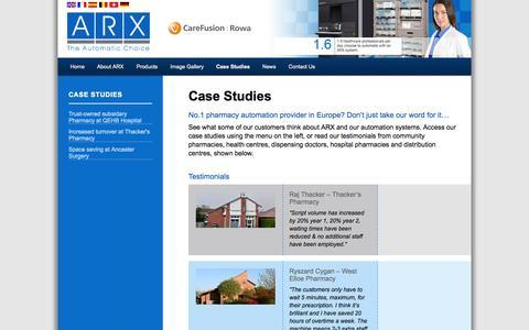 Screenshot of Case Studies Page arx-ltd.co.uk - Case Studies – ARX UK - captured Sept. 30, 2014