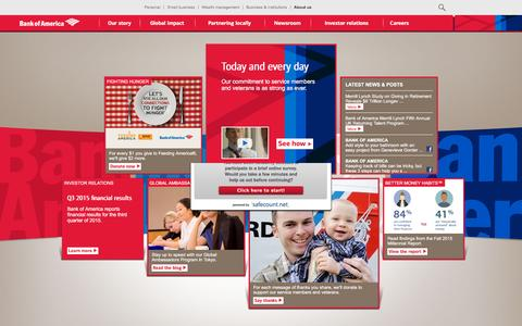Screenshot of About Page bankofamerica.com - About Bank of America - Service, Commitment & Philanthropy - captured Oct. 26, 2015