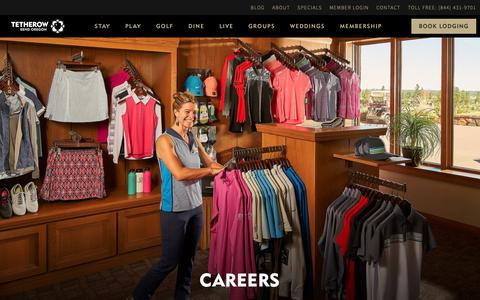 Screenshot of Jobs Page tetherow.com - Careers at Tetherow, Jobs in Bend Oregon - captured Oct. 20, 2018