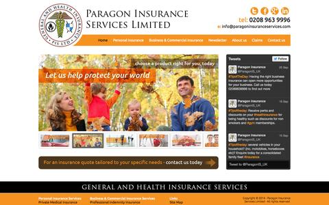Screenshot of Home Page paragoninsuranceservices.co.uk - Business Insurance | Personal Insurance | Paragon Insurance Services - captured Sept. 27, 2014