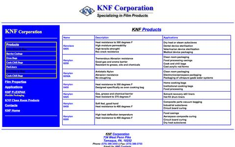 Screenshot of Products Page knfcorporation.com - Nylon Film KNF Corporation - captured Oct. 6, 2014