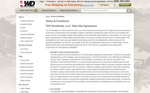 Screenshot of Terms Page 4wd.com - Terms & Conditions - captured Sept. 19, 2014
