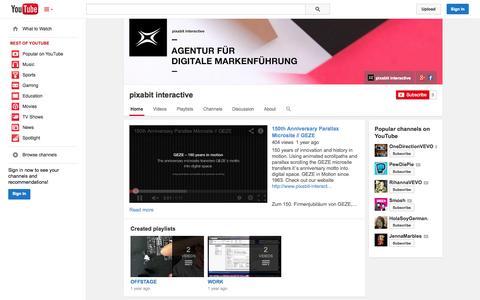 Screenshot of YouTube Page youtube.com - pixabit interactive  - YouTube - captured Oct. 23, 2014