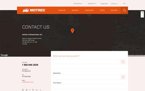 Screenshot of Contact Page motrec.com - Contact us - Motrec International inc. - captured Dec. 14, 2016