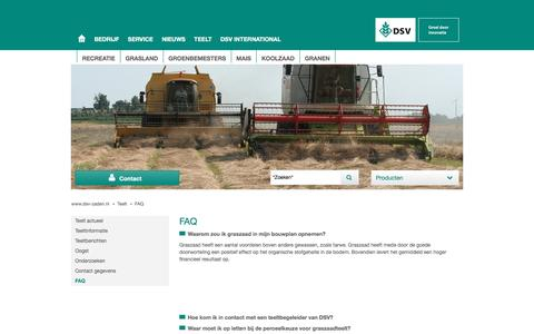 Screenshot of FAQ Page dsv-zaden.nl - DSV zaden Nederland - FAQ - captured Nov. 23, 2016