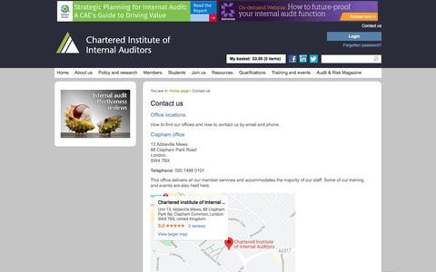 Screenshot of Contact Page iia.org.uk - Contact us | IIA - captured Feb. 18, 2020