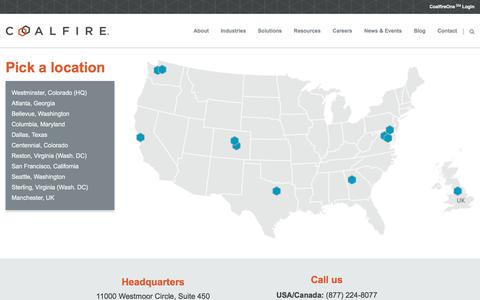 Screenshot of Locations Page coalfire.com - Coalfire - Independent cyber risk management and compliance services PCI, HIPAA, FISMA, FedRAMP, ISO, GLBA - captured Aug. 13, 2019