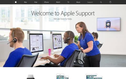 Screenshot of Support Page apple.com - Official Apple Support - captured April 17, 2016