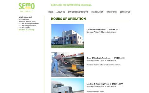 Screenshot of Hours Page semomilling.com - Semo Milling - Hours - captured Oct. 29, 2014