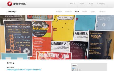 Screenshot of Press Page gracenote.com - Gracenote | Press - captured July 20, 2014