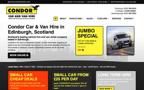 Screenshot of Home Page condorselfdrive.co.uk - Car & Van Hire in Edinburgh | Condor Car & Van Hire - captured May 20, 2017