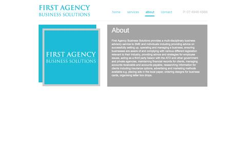 Screenshot of About Page firstagency.com.au - about - First Agency Business Solutions - captured Oct. 6, 2014