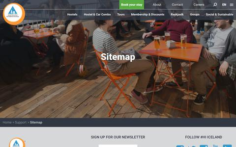 Screenshot of Site Map Page hostel.is - Sitemap - captured Sept. 30, 2018
