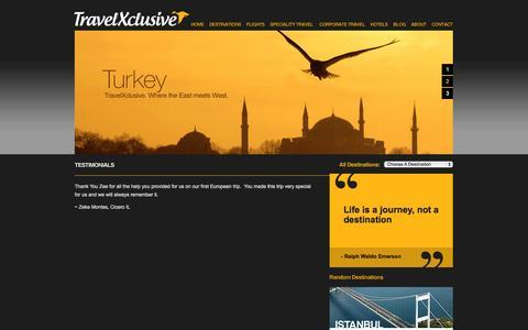 Screenshot of Testimonials Page travelxclusive.com - TravelXclusive - Testimonials - captured Oct. 7, 2014