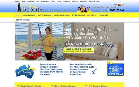 Screenshot of Home Page bebrite.com.au - Home Cleaning Services   Australia Wide   Bebrite - captured Oct. 5, 2014